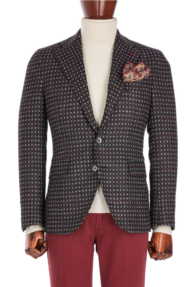 Unlined Micro-pattern red jacket