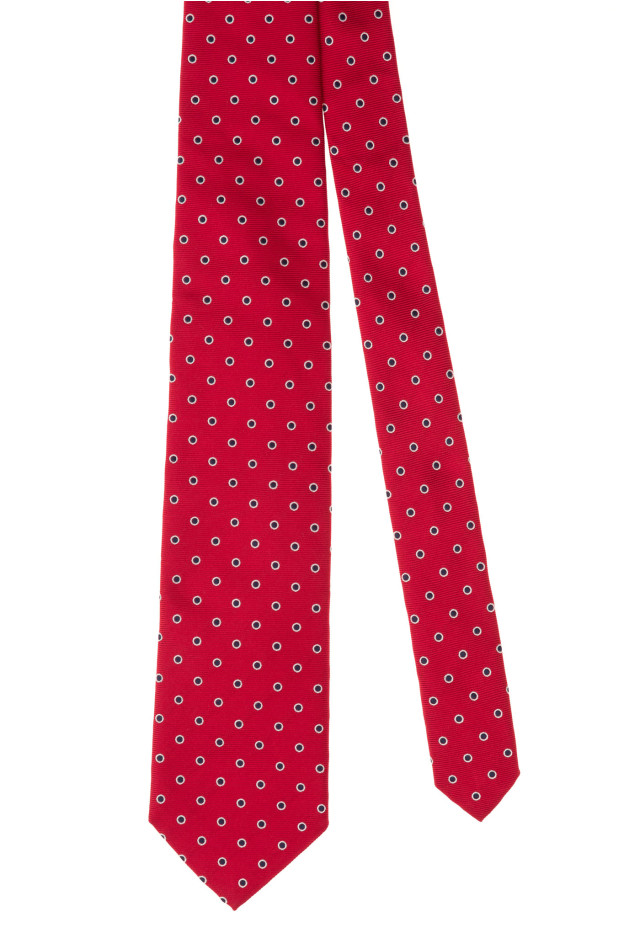 Red silk tie with polka dots