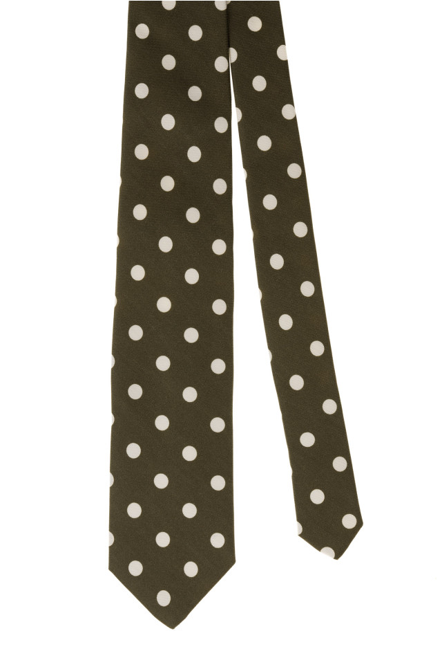 Brown and Whire Dots Tie