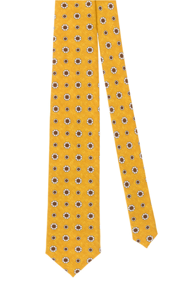 Yellow tie with brown flowers