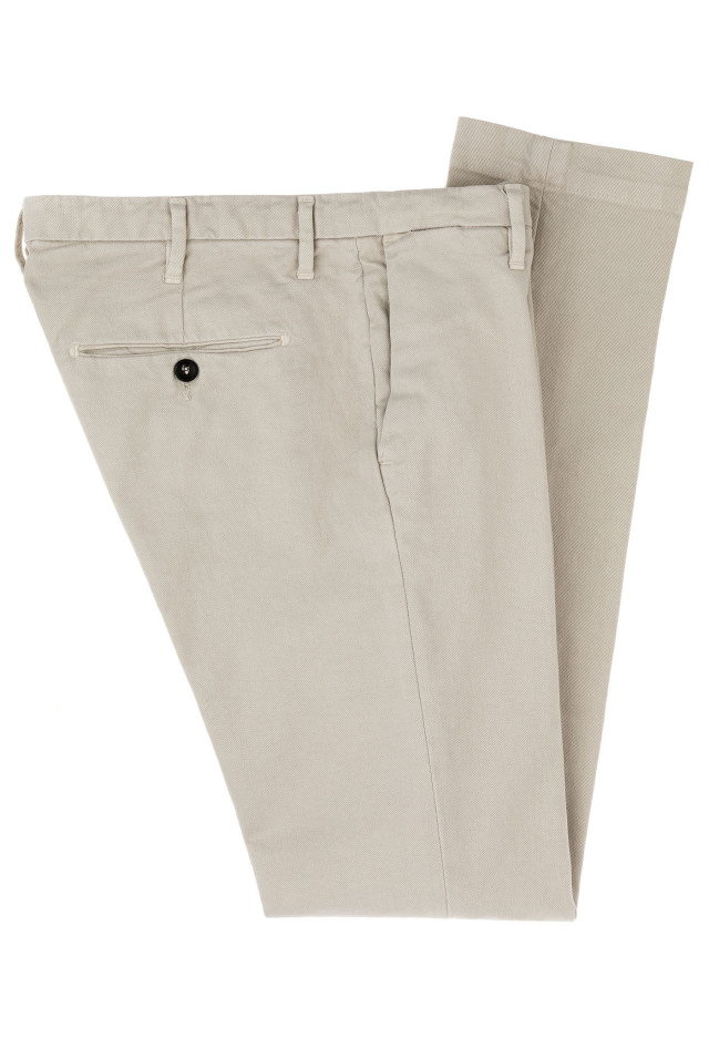 Beige stretch cotton trousers