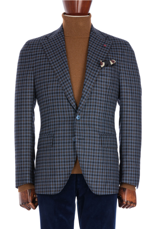 Light Blue Micro-checked Flannel Jacket