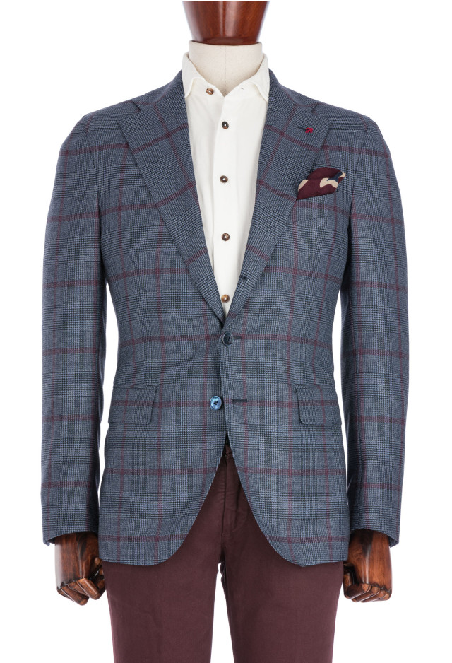 Light Blue Prince of Wales Flannel Jacket