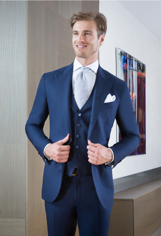 Blue suit with waistcoat
