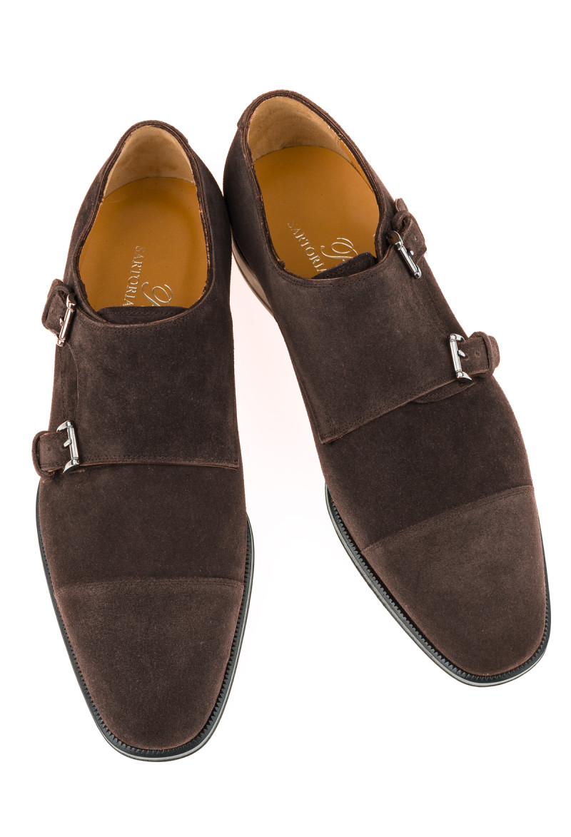 Dark brown derby shoes with buckle,  suede