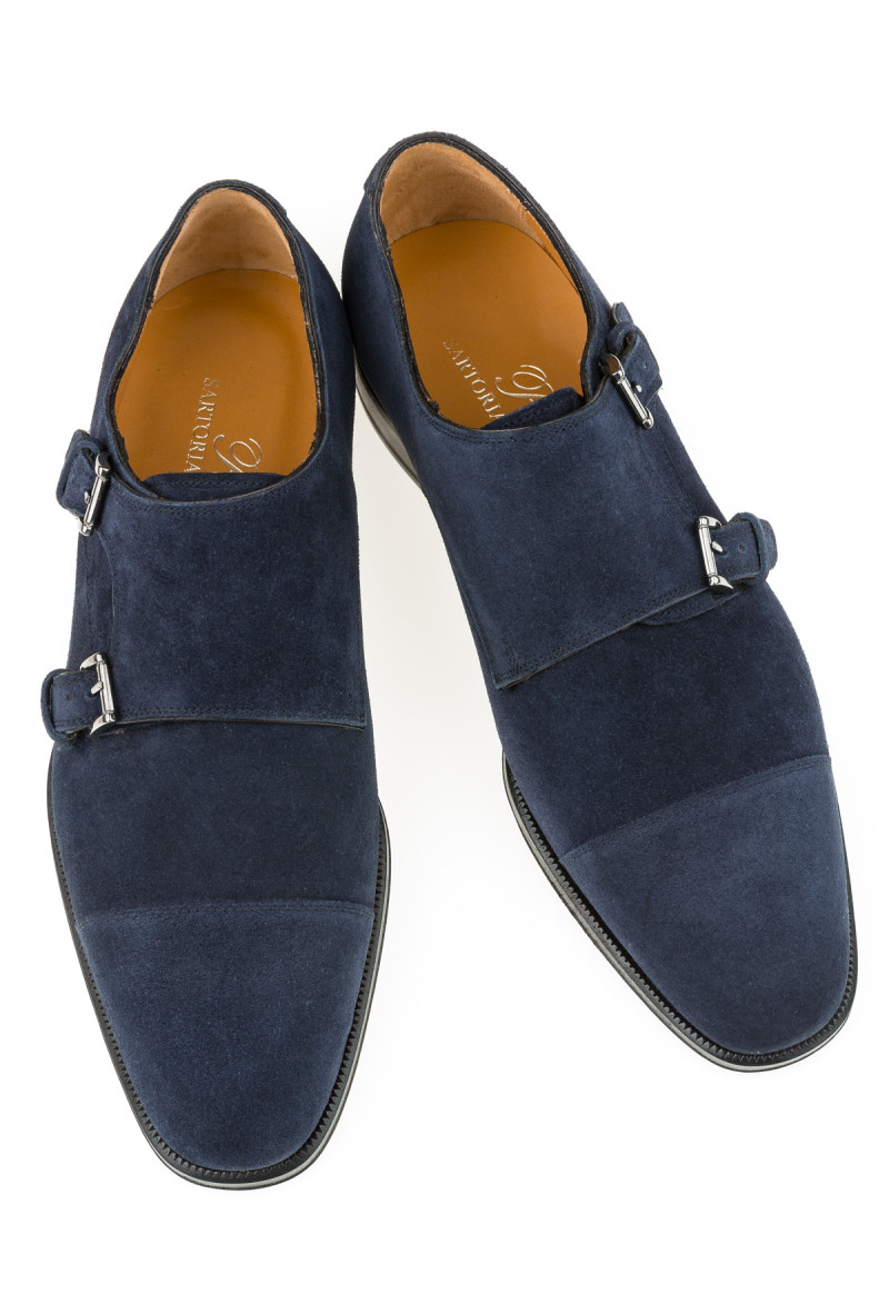 Blue derby shoes with buckle,  suede