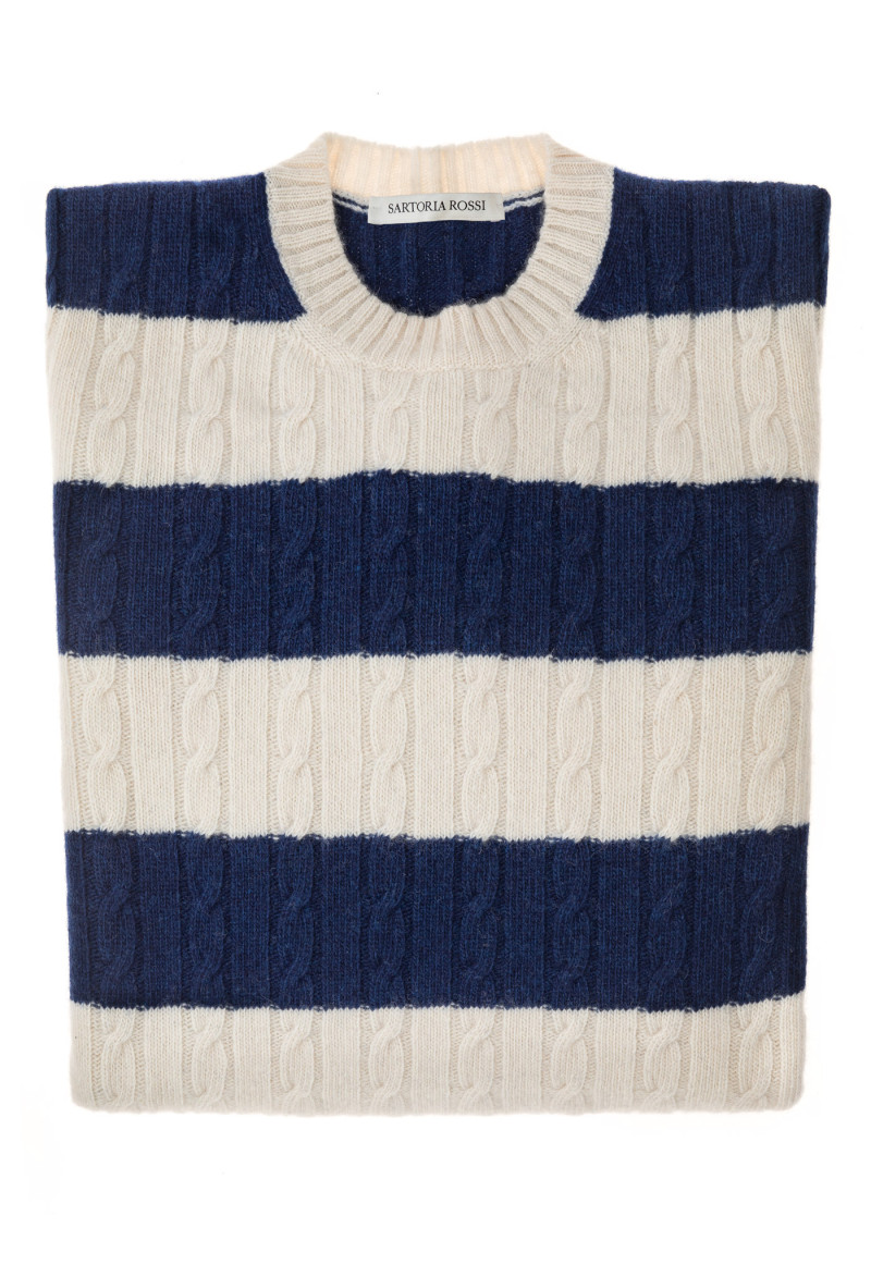Blue/Cream Blend Sweater - Wool & Cashmere
