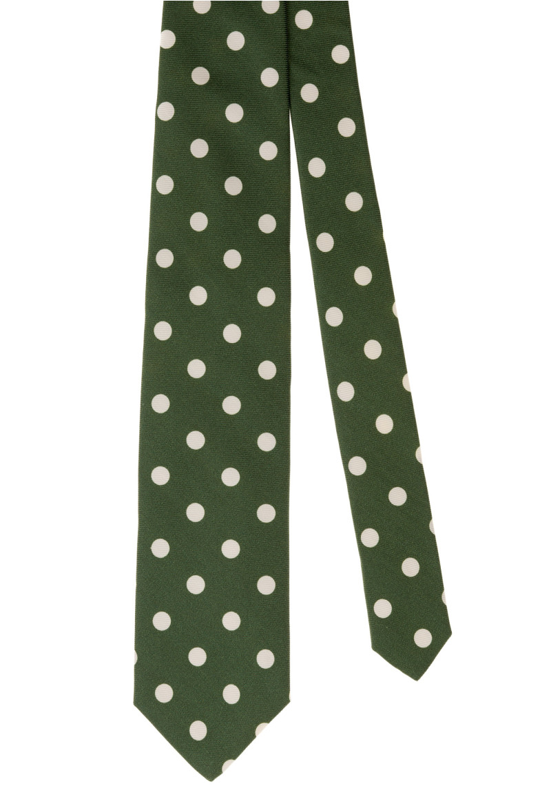 Green and White Dots Tie