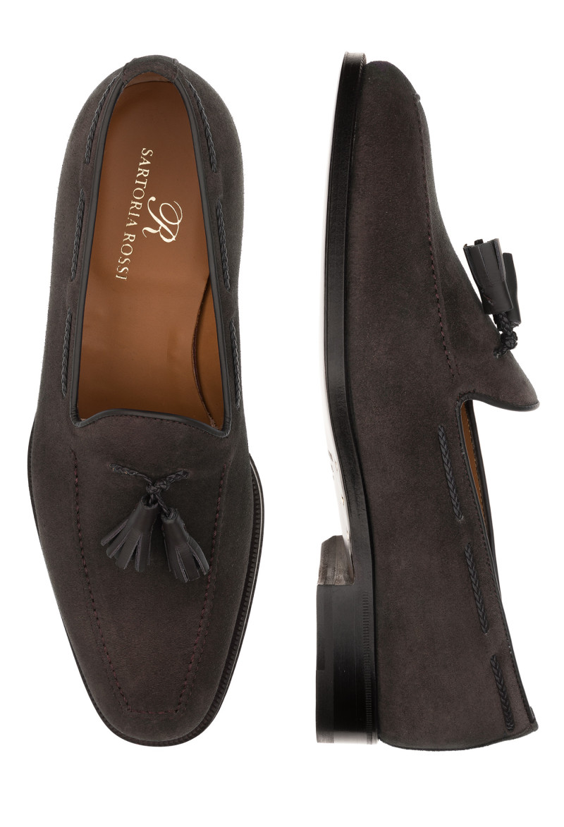 Brown Suede Tassel Loafers
