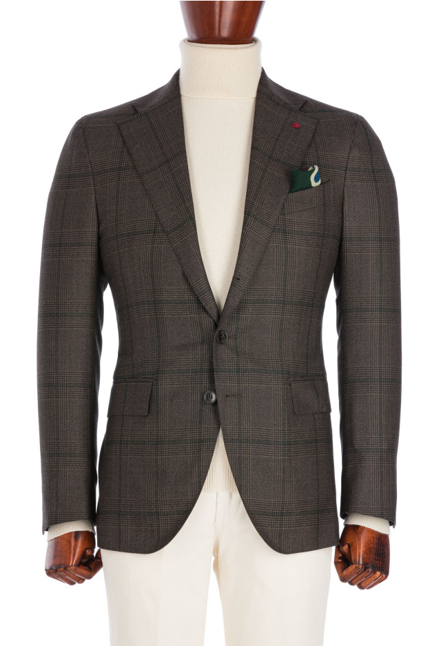 Brown Prince of Wales Flannel Jacket