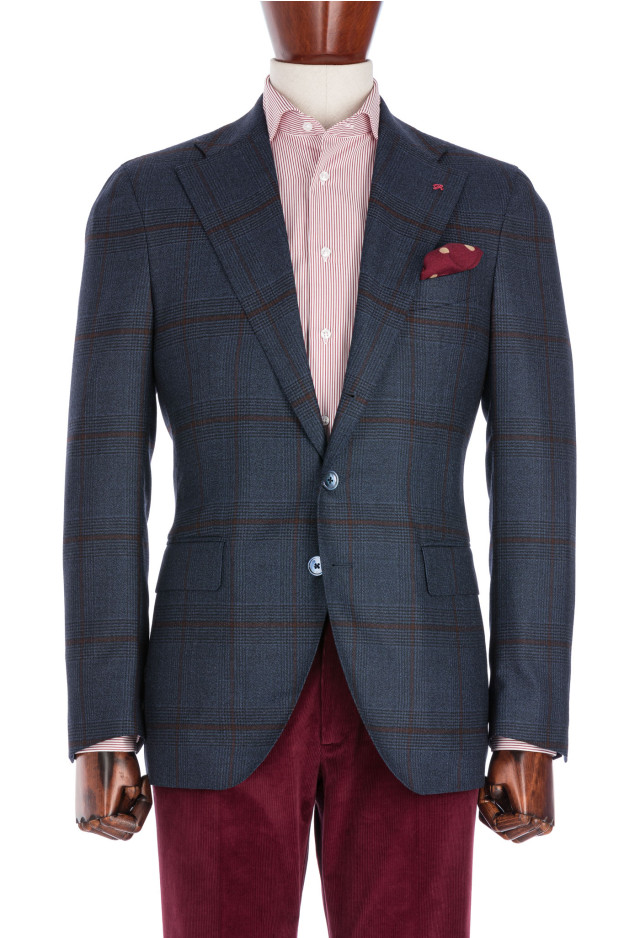 Blue Prince of Wales Flannel Jacket