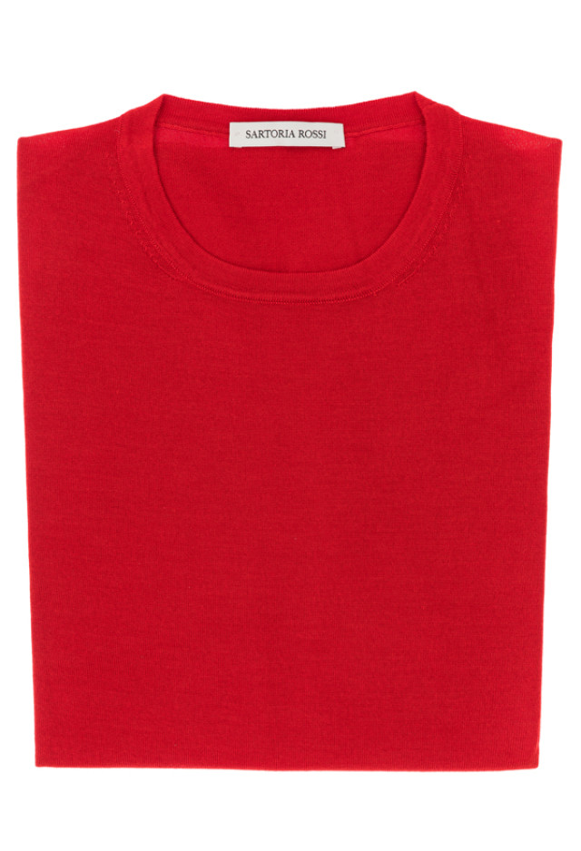 Red crew neck sweater - Cashmere