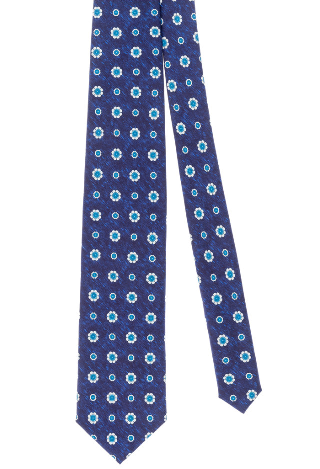 Blue tie with light blue flowers